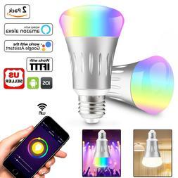 2Pcs Wifi Smart Scene Light Bulb LED Dimmable Work With Goog