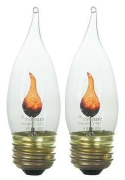 2PK Flickering Flame Standard Light Bulbs - 3W Realistic Can