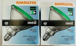 2x Sylvania 100W Halogen PAR38 Outdoor Flood Light Bulbs, Gr