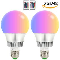 2X 10W E27 LED RGB Light Bulbs 16 Color Changing Magic Lamp