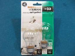 Sylvania 2XLife Clear 60W Dimmable Ceiling Fan Light Bulb, V
