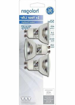 3- GE 50 Watt GU10 Light Bulbs Dimmable Bright White Halogen