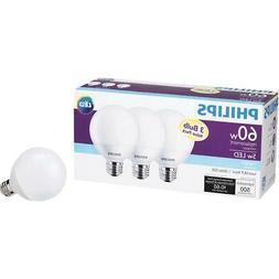 """3 Philips 60-Watt G25 Vanity Globe """"Daylight"""" LED Light Bulb"""