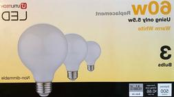 3 Utilitech 60-Watt White G25 LED Globe Light Bulbs w/Standa