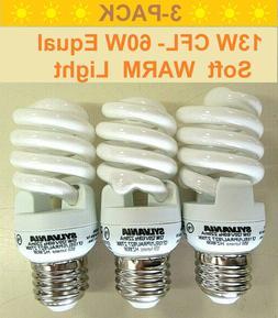 3-Pack 13W CFL  E26 2700K Warm Soft White Spiral Light Bulbs
