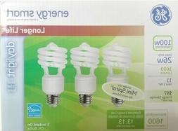 3 pack GE 26W 100 watt replacement CFL Spiral Daylight 6500K