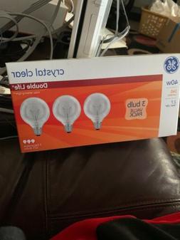 3 PACK GE 40-Watt Crystal Clear 2X LIFE 340 Lumens G25 Globe