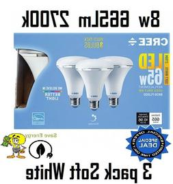3 pack Cree 8w = 65w Soft White  Br30 Dimmable LED Flood Lig