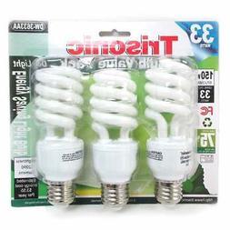 3 Pack Daylight Bulb Light 33 W Energy 150 Watt Output White