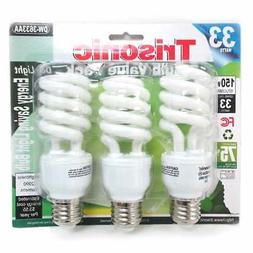 3 Pack Daylight Bulb Light 33 W Energy 150 Watt Output White