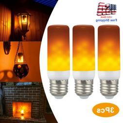 3 Pack E27 LED Flicker Flame Fire Effect Simulated Nature Li