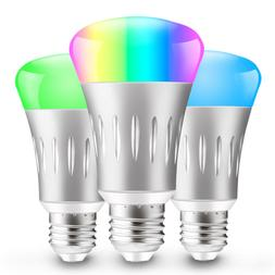 3 Pack E27 RGB LED Wifi Smart Bulb Light Bulbs Work With Ale