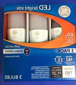 3 Pack GE LED Bright Stik 10W 60W Equivalent, Soft White Gen