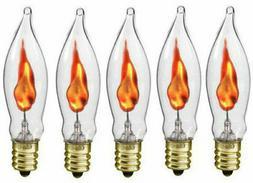 3 Watt Flicker Light Bulbs C7 Flame Tip Clear Glass Candelab