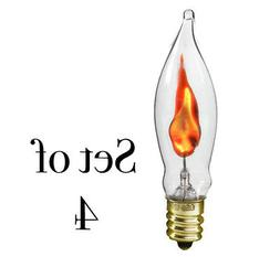 3 Watt FLICKER Light Bulbs C7 Flame Tip Clear Glass Candelab