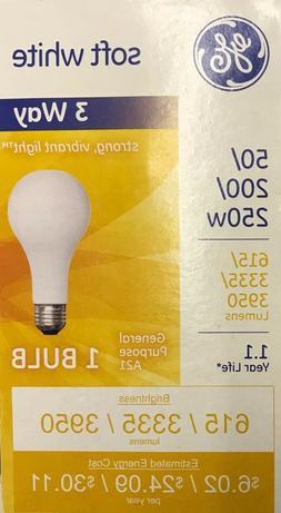 GE 3 Way 50/200/250 Watt Incandescent Light Bulb A21 Shape 6