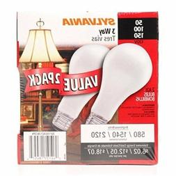Sylvania 3 Way Incandescent 2 Pack Light Bulbs 50-100-150 Wa