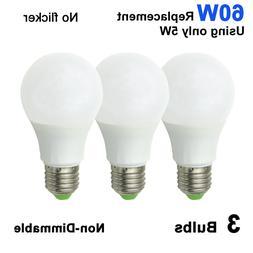 3pcs LED Light Lamp E27 A19 AC/DC 12-24V 5W Globe Bulb Warm