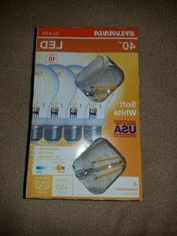 "4 Sylvania 40-Watt Clear ""Real Glass"" A19 LED Light Bulbs w/"
