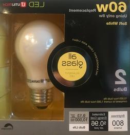 """4 Utilitech 60-Watt """"Real Glass"""" A19 LED Light Bulbs w/Stand"""