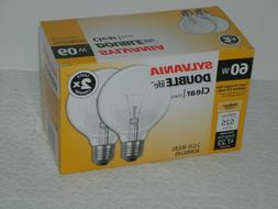 4 Sylvania 60W Double Life G25 Clear Globe Incandescent Ligh