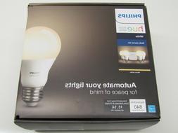 4 Bulb Philips Hue White Bulb Starter Kit 840 Lumens E26 9.5