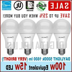 4 Bulbs LED Maxlite 15W Daylight 5000K A19 E26 Base 100W Rep