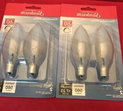 4 Clear CHANDELIER LIGHT BULBS 60 Watt  Candelabra E12 BASE