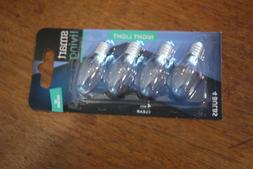 4 CLEAR NIGHT LIGHT BULBS   // SMART LIVING  Candelabra Base