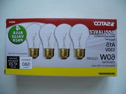 4 LOT SATCO 60-Watt A15 Clear Long-Life Appliance Light Bulb