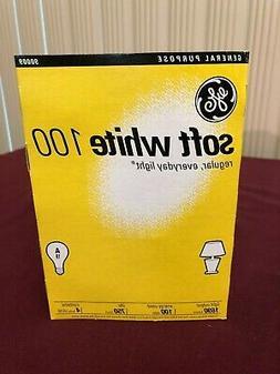 4 NEW GE 100 Watt Light Bulbs life soft white incandescent A