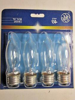 4 pack- GE 40 watt Bent Tip Crystal decorative incandescent