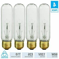 Tubular Incandescent Bulbs 60T10/CL 120V 60W Watt T10 Mediu