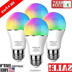4 pack 8W/75Watt Smart Light Bulb E27 RGB Color Changing Bul