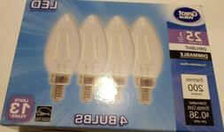 4 Pack Candelabra 25 Watt LED Light Bulbs Dimmable 3w 200 Lu
