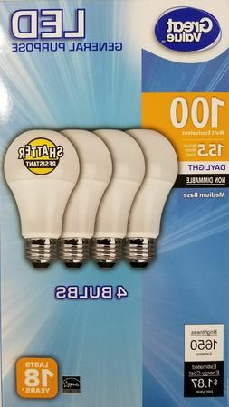 4 PACK LED 100W = 15.5W Daylight 100 Watt NON-DIMMABLE 5000K