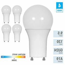 4 Pack LED 9.5W Watt =60W 120V A19 Twist and Lock GU24 3500K