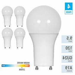 4 Pack LED 9.5W Watt =60W 120V A19 Twist and Lock GU24 Dimma