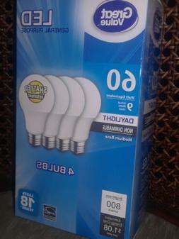 4 Pack Great Value LED Daylight 9 Watts 60 Watt equiv Light