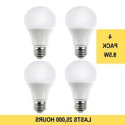 4 Pack LED NON-DIMMABLE Light Bulbs 9.5 Watt 25,000 Hours Eq