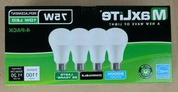 4 pack New 75 Watt Equivalent A19 LED Light Bulb dimmable da