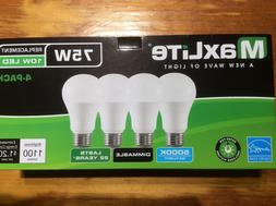 4 pack New 75 Watt Equivalent  A19 LED Light Bulb dimmable d