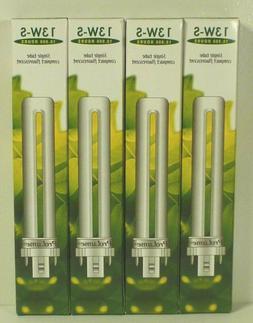 4 Pack PL13S PLS13 27 ECO CFL Plug-In 13W Watt T4 Bi 2-Pin G