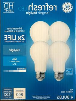 GE 4-Pack REFRESH HD Daylight 60W / 60 WATT A19 Dimmable LED