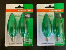 4 x SYLVANIA 15W Transparent GREEN Light Bulbs Indoor/Outdoo