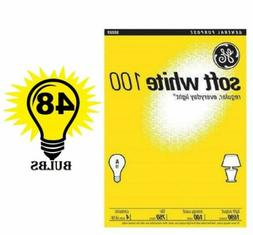 GE 41036 Soft White Bulbs 100 Watt 12 Pack / 48 Bulbs