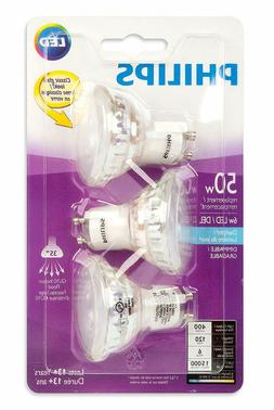 PHILIPS 465104 LED 50W Equiv. GU10 Daylight Bulb, 3 Pack