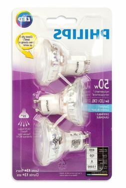 PHILIPS 465104 LED 50W Equiv. GU10 Daylight Bulb, 3 Pack