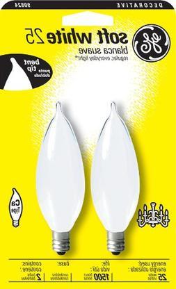 GE Lighting 48407 25-Watt Candelabra Base Bent Tip Light Bul
