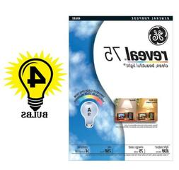 GE 48689 75 WATT REVEAL LIGHT BULBS 1 PACK OF 4 INCANDESCENT